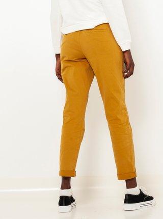 Horčicové skrátené straight fit nohavice CAMAIEU