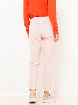 Růžové pruhované straight fit kalhoty CAMAIEU