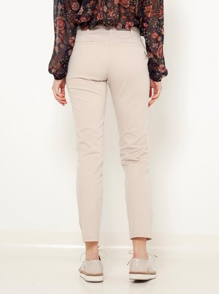 Béžové zkrácené straight fit kalhoty CAMAIEU