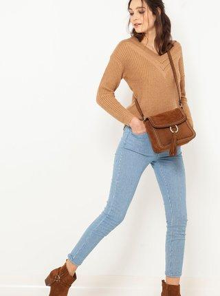 Modré pruhované skrátené slim fit nohavice CAMAIEU