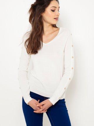 Biely ľahký sveter s ozdobnými detailmi CAMAIEU