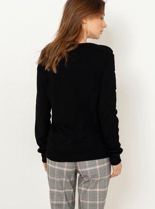 Čierny ľahký svetr s ozdobnými detailmi CAMAIEU