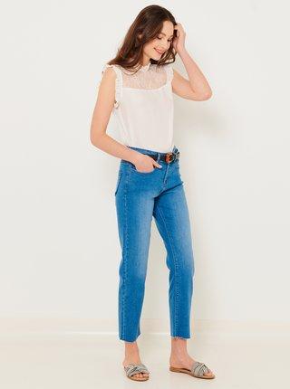 Modré zkrácené straight fit džíny CAMAIEU