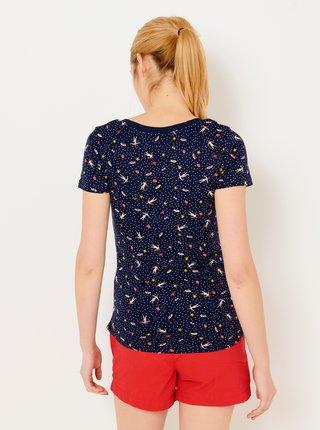 Tmavě modré vzorované tričko CAMAIEU