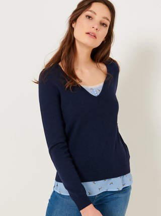 Tmavě modrý svetr s vsadkou CAMAIEU