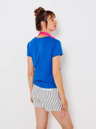 Modré tričko s nápisom CAMAIEU