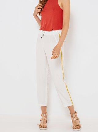 Bílé zkrácené kalhoty s lampasem a vysokým pasem CAMAIEU