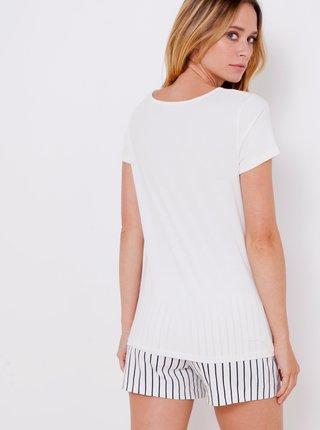 Bílé tričko s motivem ptáka CAMAIEU