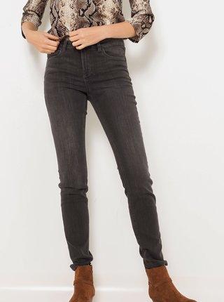 Tmavě šedé slim fit džíny CAMAIEU