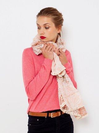 Světle růžový květovaný šátek CAMAIEU