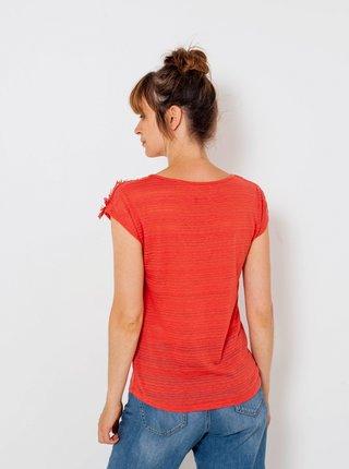 Červené tričko s příměsí lnu CAMAIEU