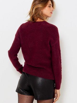 Vínový sveter s ozdobnými detailmi CAMAIEU