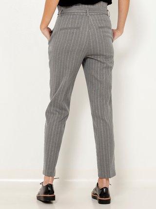 Šedé pruhované zkrácené kalhoty s vysokým pasem CAMAIEU