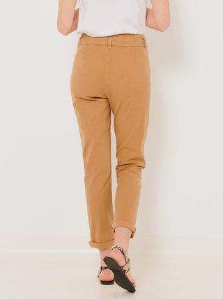Svetlohnedé skrátené nohavice so zaväzovaním CAMAIEU