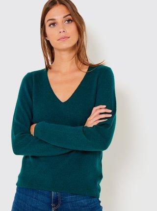 Tmavě zelený kašmírový svetr CAMAIEU