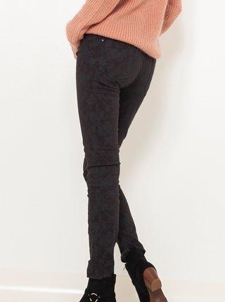 Tmavošedé vzorované slim fit nohavice CAMAIEU