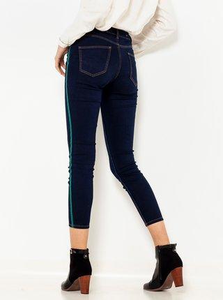 Tmavě modré zkrácené skinny fit džíny s lampasem CAMAIEU