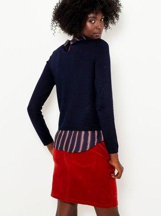 Tmavomodrý ľahký sveter s všitou košeľovou časťou CAMAIEU