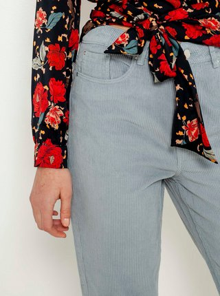 Modré skrátené menčestrové nohavice CAMAIEU