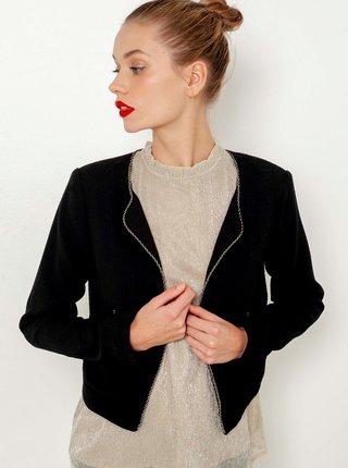 Černé dámské sako s ozdobným lemováním CAMAIEU
