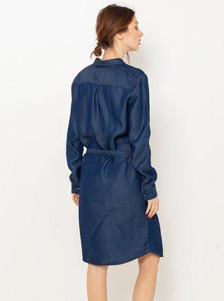 Modré rifľové košeľové šaty CAMAIEU
