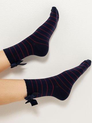 Tmavě modré pruhované ponožky s mašlí CAMAIEU