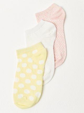Sada tří párů ponožek ve žluté, bílé a růžové barvě CAMAIEU
