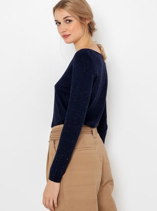 Tričká s dlhým rukávom pre ženy CAMAIEU - tmavomodrá
