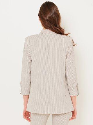 Krémovo-šedé dámské proužkované sako CAMAIEU