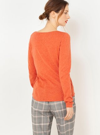 Oranžové tričko s dlouhým rukávem CAMAIEU
