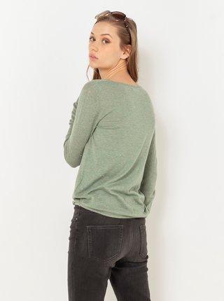Zelené tričko s dlouhým rukávem CAMAIEU