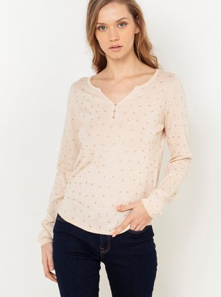 Béžové vzorované tričko CAMAIEU