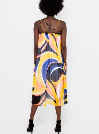 Modro-žlté vzorované šaty na ramienka CAMAIEU