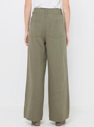 Khaki lněné kalhoty CAMAIEU