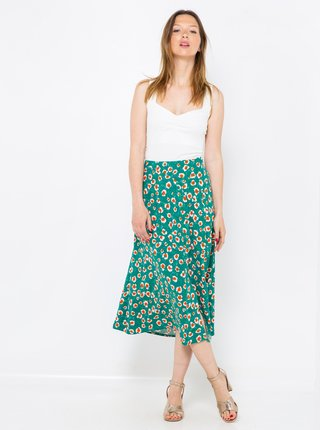 Tyrkysová kvetovaná midi sukňa CAMAIEU