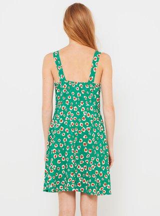 Tyrkysové kvetované šaty na zapínanie CAMAIEU