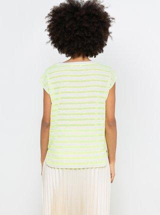 Neonově žluté pruhované volné tričko CAMAIEU
