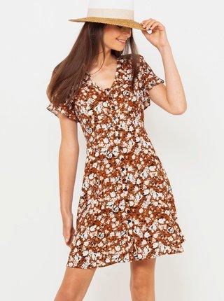 Hnědé květované propínací šaty CAMAIEU