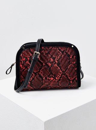 Čierno-červená crossbody kabelka s hadím vzorom CAMAIEU