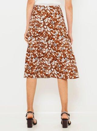 Hnedá květovaná sukňa CAMAIEU