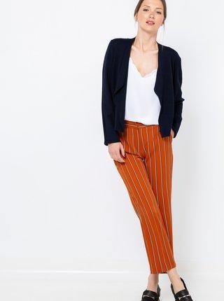 Oranžové zkrácené pruhované kalhoty CAMAIEU