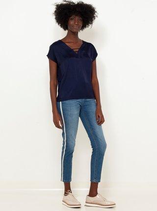 Modré zkrácené skinny fit džíny s lampasem CAMAIEU