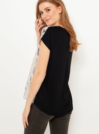 Černo-hnědé tričko s hadím vzorem CAMAIEU
