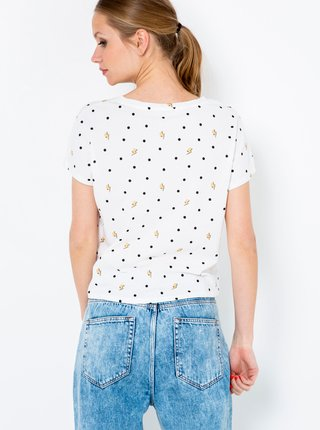 Bílé puntíkované tričko s nápisem CAMAIEU