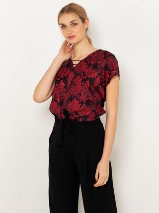 Černo-vínové tričko s hadím vzorem CAMAIEU