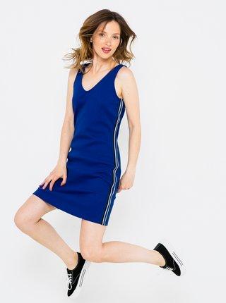 Tmavě modré pouzdrové šaty s lampasem CAMAIEU