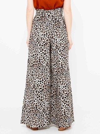 Hnědé široké kalhoty s levhartím vzorem CAMAIEU