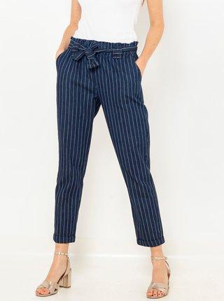 Tmavě modré zkrácené pruhované kalhoty CAMAIEU