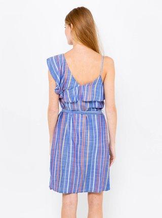 Modré pruhované šaty s asimetrikým výstřihem CAMAIEU