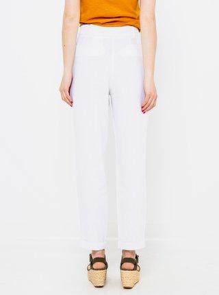 Biele ľanové straight fit nohavice CAMAIEU